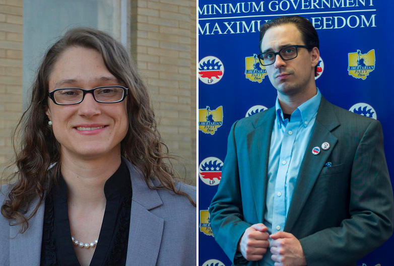 Constance Gadell-Newton (left) and Librertarian Party governor candidate Travis Irvine