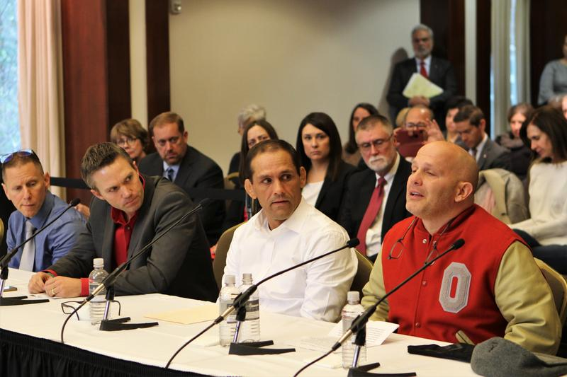 A group of former Ohio State students detail their stories of sexual abuse by Richard Strauss, a longtime sports doctor, before the Ohio State Board of Trustees on November 16.