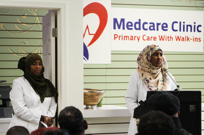 Farhiya Shirwa, left, and Amina Abdule, right, opened Ohio's first Somali primary care clinic.