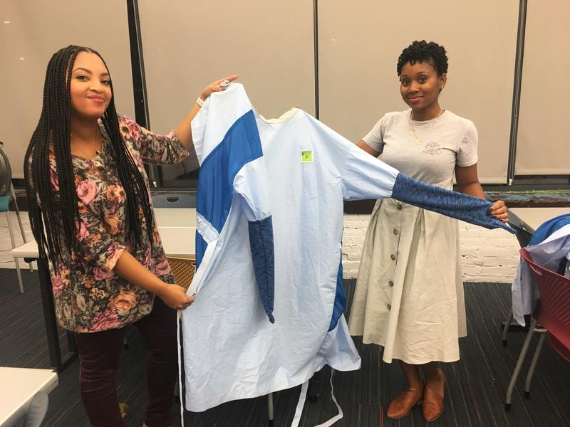 CCAD students Marshell Stokes and Elysse Applewhite created a gown that wouldn't fall off surgeons.