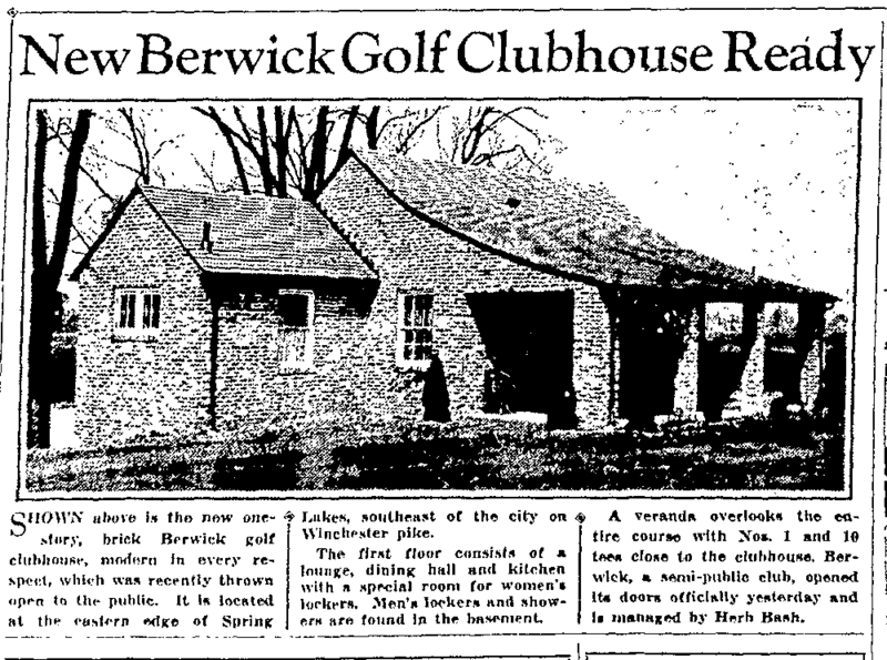 The Columbus Dispatch reported the completion of the Berwick Golf Clubhouse in 1933.