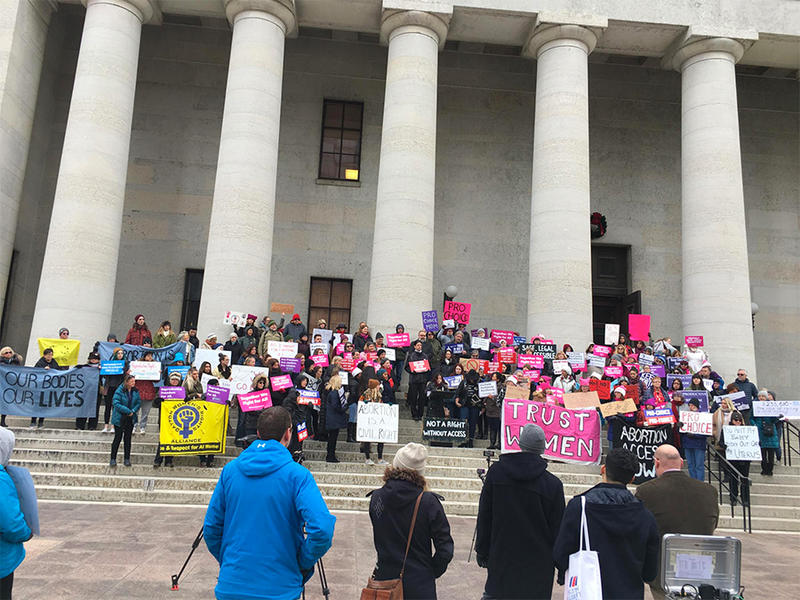 Opponents of Heartbeat Bill gather on the Statehouse steps, a few hours before a hearing on the bill in a Senate committee.