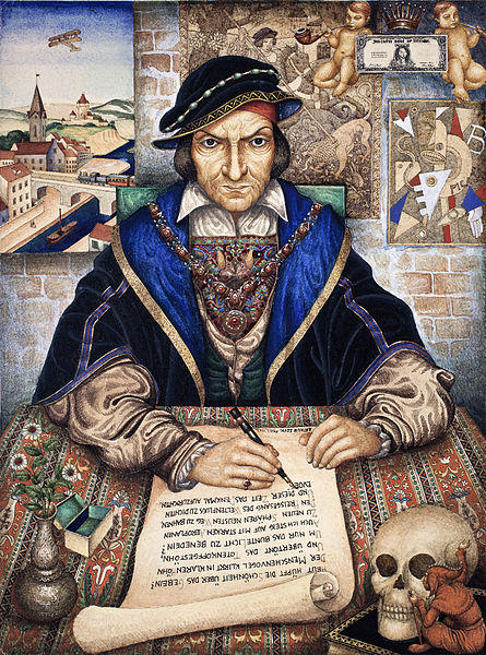 In the enigmatic image The Scribe, Szyk depicts a man dressed in medieval or Renaissance garb, sitting at a drafting table writing a German expressionist poem with a fountain pen. Within the historical setting are several anachronistic 20th century detail