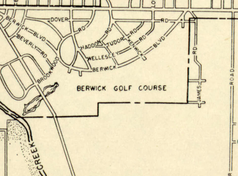 A 1951 map from the Franklin County Regional Planning Committee shows the location of the Berwick Golf Course.