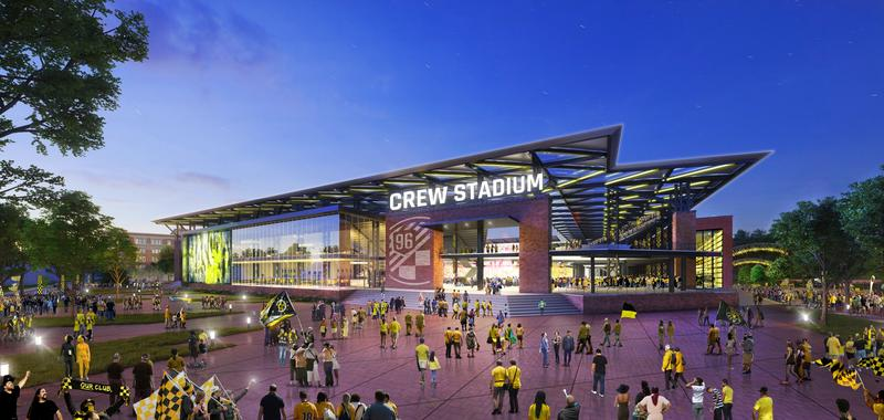 A new 20,000-seat stadium for the Columbus Crew SC is being proposed for the Arena District.