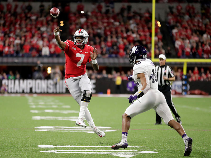 Ohio State quarterback Dwayne Haskins (7) throws as Northwestern defensive back Alonzo Mayo (10) defends during the second half of the Big Ten championship NCAA college football game, Saturday, Dec. 1, 2018, in Indianapolis.
