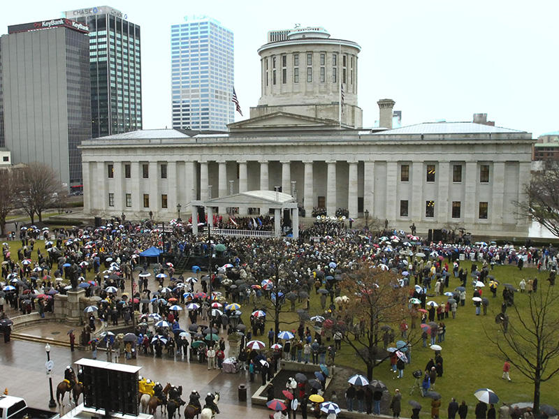Gov. Ted Strickland held his public inauguration ceremony on the west steps of the Statehouse in January 2007.