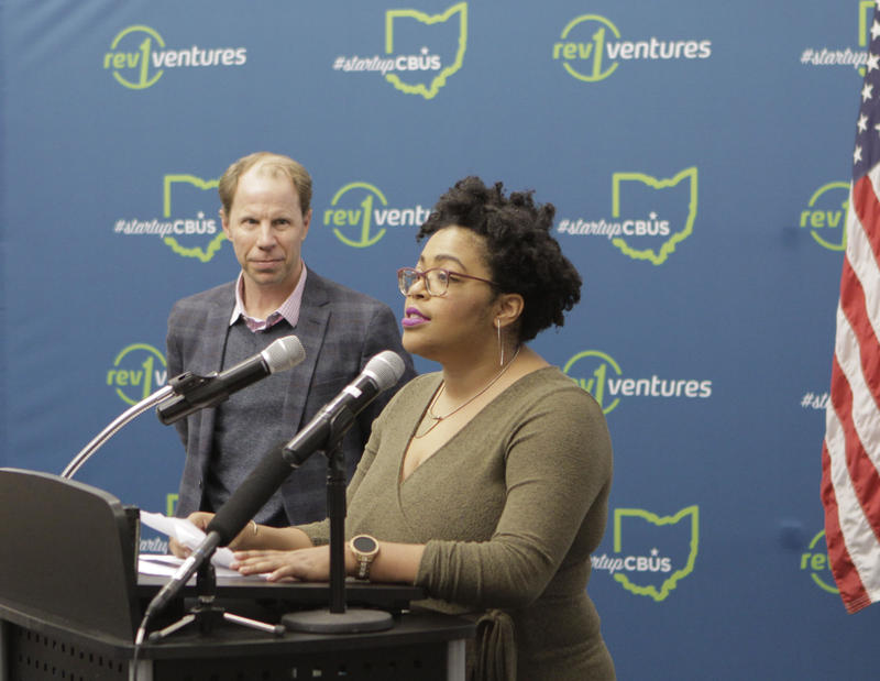 Forward Cities Local Director L.C. Johnson speaking next to the organization's CEO Christopher Gergen.