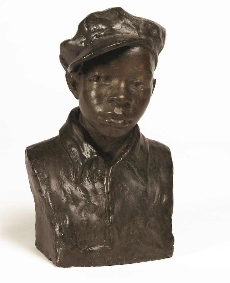 color photo of augusta savage sculpture called gamin