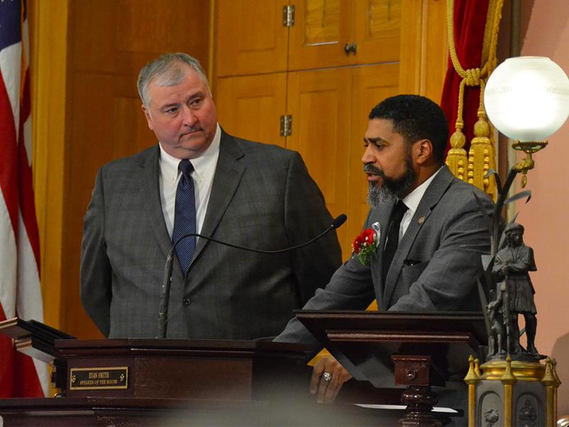 House Speaker Larry Householder and Minority Leader Fred Strahorn at the Ohio Speaker Dias after Householder was elected Speaker of the House.
