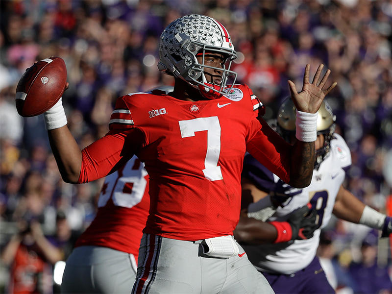Ohio State quarterback Dwayne Haskins passes against Washington during the first half of the Rose Bowl NCAA college football game Tuesday, Jan. 1, 2019, in Pasadena, Calif.