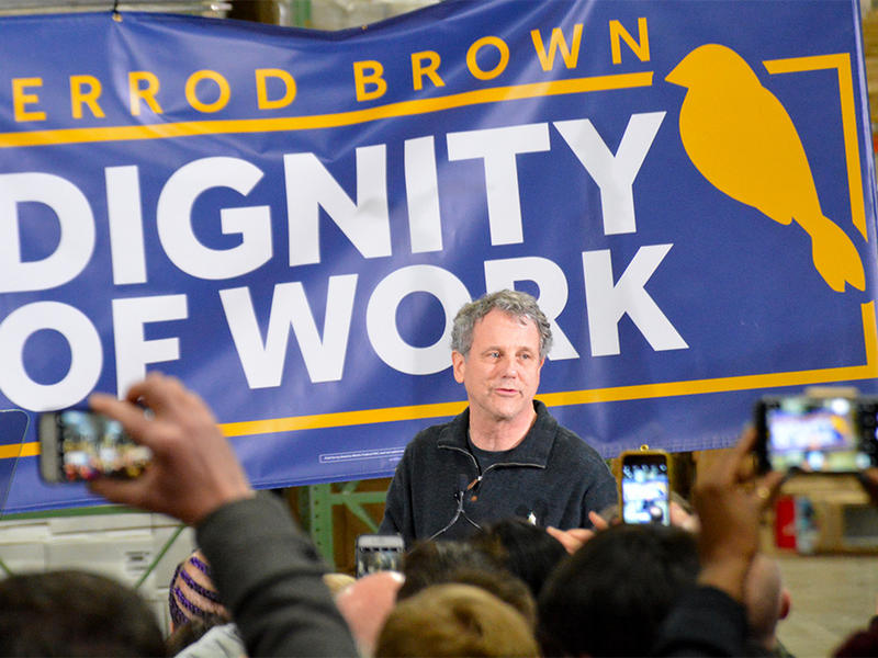 Sen. Sherrod Brown, D-Ohio, speaks at a rally in Brunswick, Ohio to start his Diginity of Work tour of early presidential primary states.