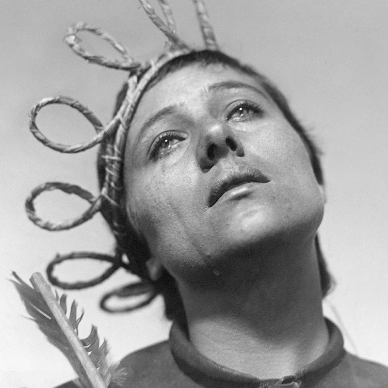 Partial poster for landmark film The Passion of Joan of Arc (1928) with Renee Jeanne Falconetti as Joan of Arc