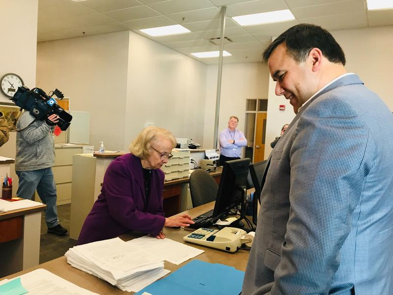 Mayor Andrew Ginther files for re-election at the Franklin County Board of Elections on Feb. 4, 2019.
