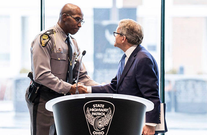 Ohio Highway Patrol Lt. Col. Richard Fambro is announced as the patrol's new superintendent by Gov. Mike DeWine on Thursday, February 7, 2019 at the Ohio State Highway Patrol Academy in Columbus.
