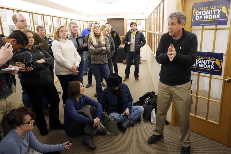 U.S. Sen. Sherrod Brown, D-Ohio, speaks during a meet-and-greet with local residents, Thursday, Jan. 31, 2019, in Cresco, Iowa.