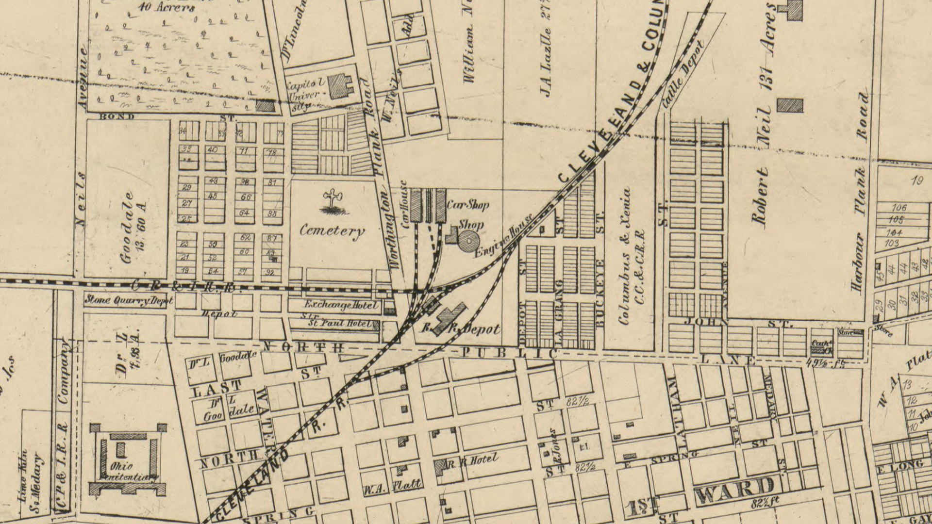 North Ohio Map.A Tower Will Rise Above North Market Below A Graveyard Awaits