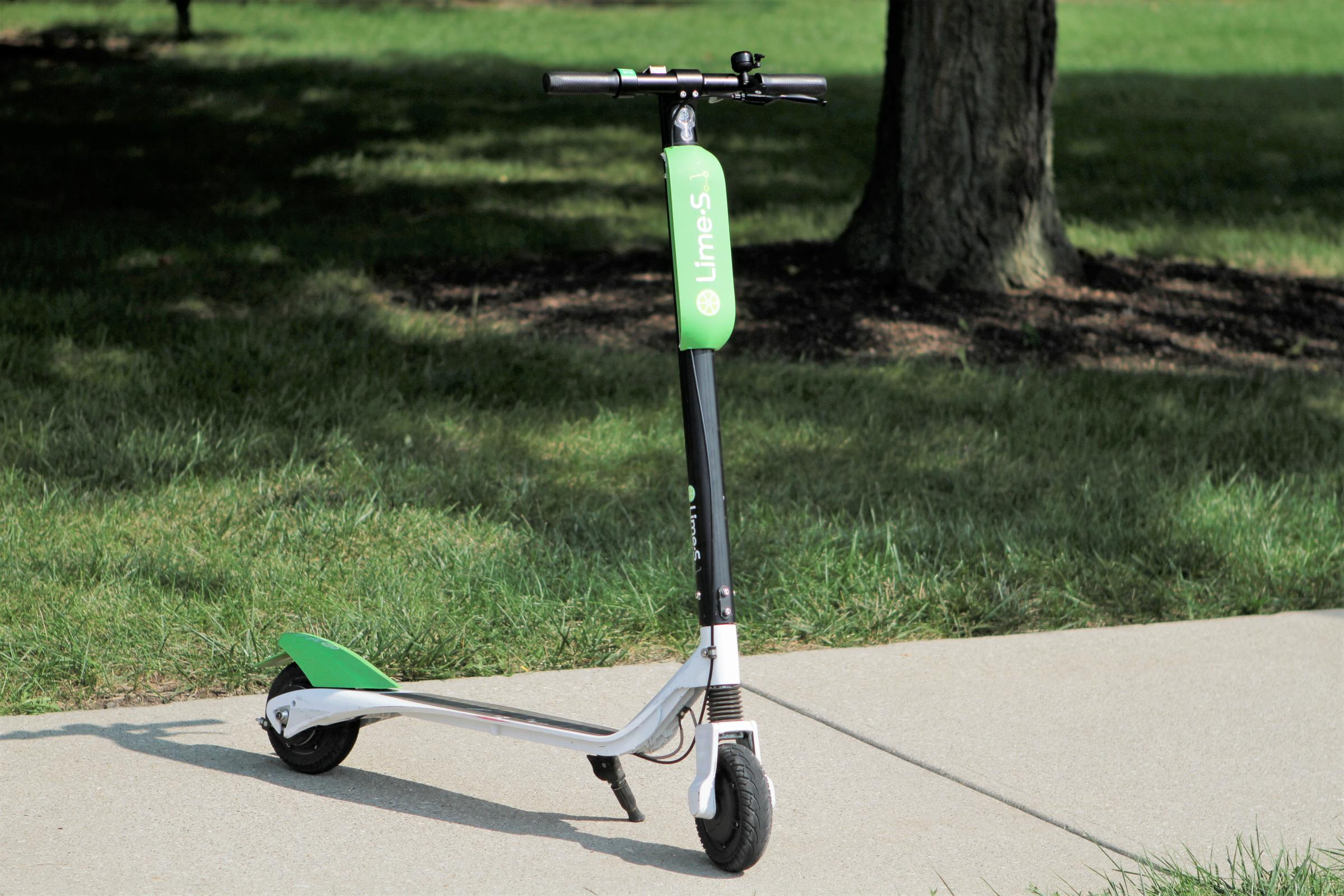 A Motorized Lime Scooter In Columbus