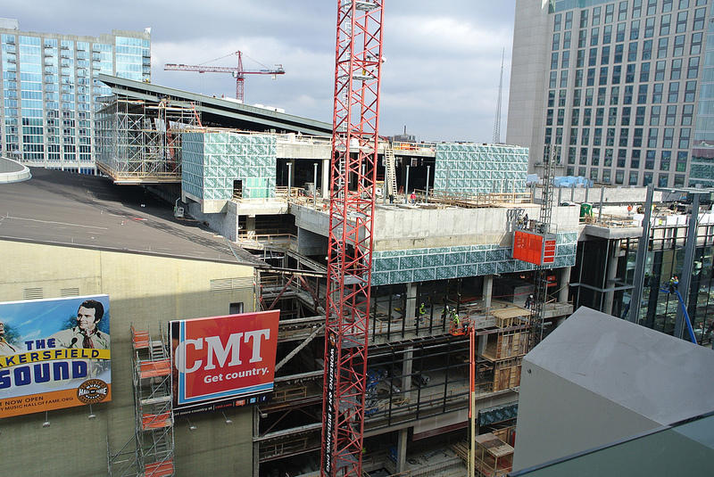 This photo shows the Omni Hotel when it was under construction. The recent boom has meant overnight work for many contractors. And with more people living in downtown Nashville, the issue of noise has come to a head.