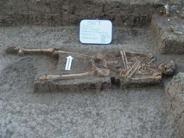 These remains were found in February, 2011. Archaeologists believe this soldier may have had part of his leg amputated.