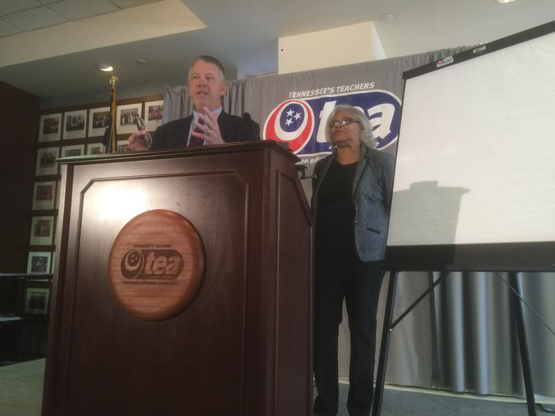Attorney Rick Colbert announced the filing of a third lawsuit related to TVAAS on Thursday. Also on stage is Tennessee Education Association president Barbara Gray.