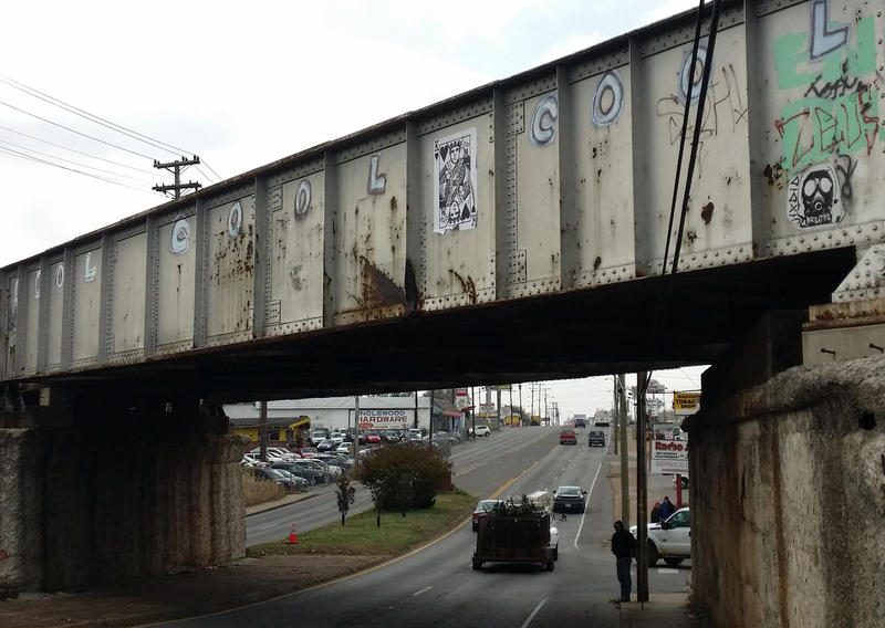 "The CSX railroad trestle that crosses Gallatin Pike near a sign that reads ""Inglewood"" reminds everyone southbound on Gallatin that they're in the coolest part of town."
