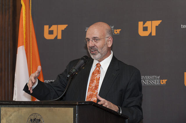 UT president Joe DiPietro, pictured here at an event in 2014, upset some faculty members recently when he suggested changing the way the system reviews tenured professors.