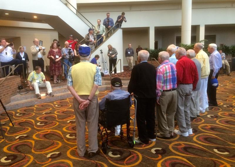 Ten remaining members of the 30th Infantry Division line up at their recent reunion for one final group photograph.