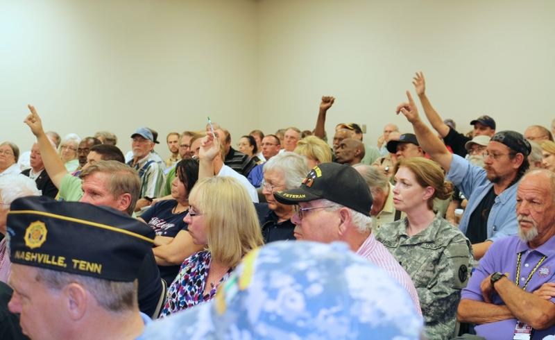 About 100 people attended a Nashville town hall meeting at the Veterans Affairs hospital in September. Many shared their personal experiences about long wait times.