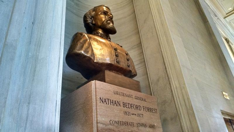 The debate over relocating the controversial bust of Confederate General and early KKK leader Nathan Bedford Forrest is nixed - for now.