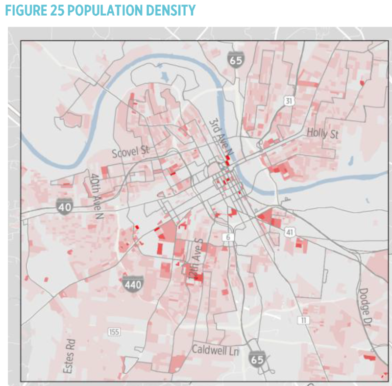 Nashville population density map