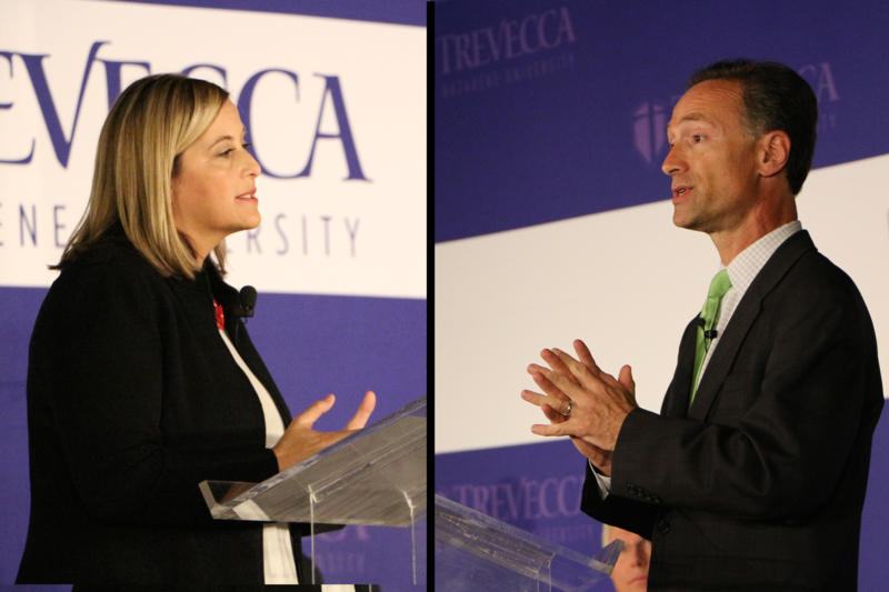 Megan Barry and David Fox face off at a televised debate, moderated by Fox 17 at Trevecca Nazarene University.