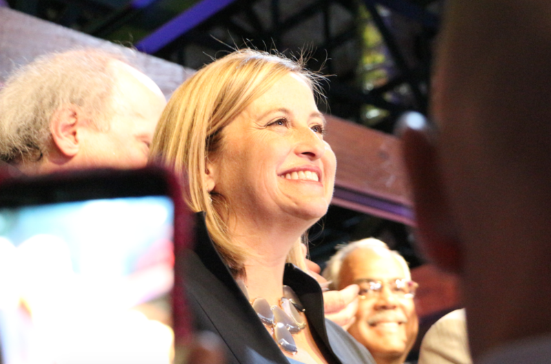 Megan Barry beamed at a crowd of several hundred supporters as she took the stage on election night.