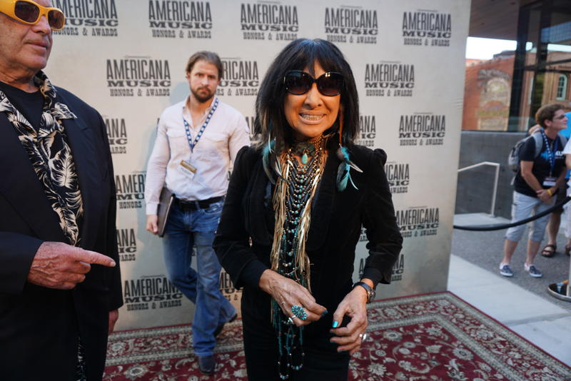 Buffy Sainte-Marie made an appearance on the American Awards red carpet and performed during the show.