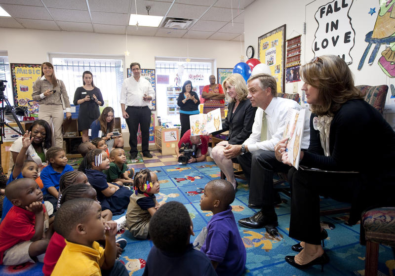 Gov. Bill Haslam reads to pre-K students at the Wayne Reed Center in Nashville. The governor has said he was waiting on Vanderbilt's results before deciding to expand pre-K in Tennessee.