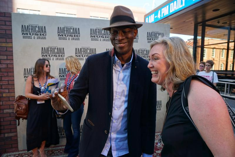 Keb Mo snaps a selfie before playing during the Americana Awards Show.