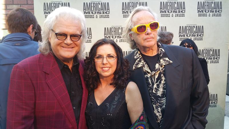 "Ricky Skaggs and Sharon White performed and won a ""Lifetime Achievement Award."" Here they are with Ry Cooder."