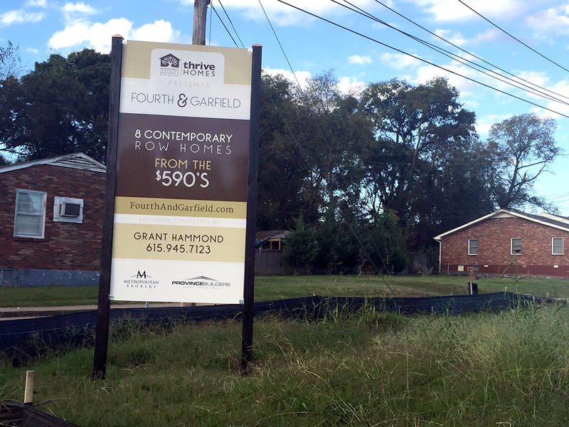 An empty lot in Salemtown, near I-65, is under construction to become townhomes.