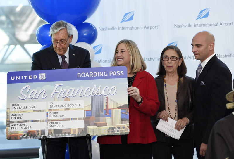 Rob Wigington, head of the Metro Nashville Airport Authority, and Mayor Megan Barry were among the officials to announce the new direct flight to SFO.