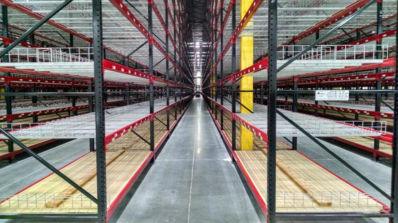 More than 100 empty racks await merchandise inside Under Armour's new facility in Mt. Juliet.