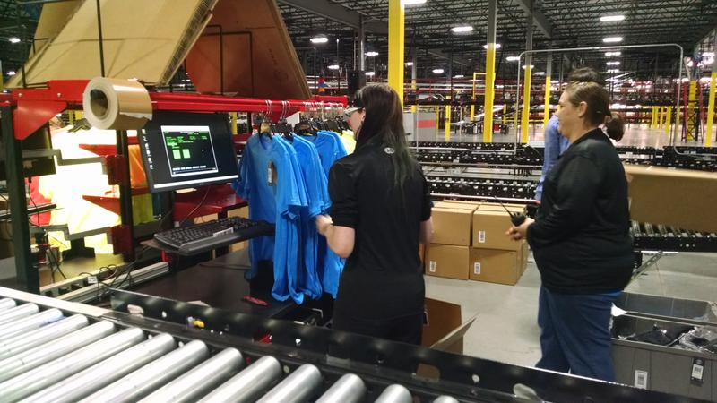 An Under Armour handles shirts inside the company's new Mt. Juliet distribution center.