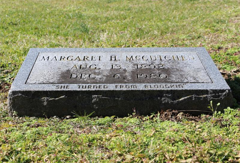 "Margaret McCutchen's tombstone in the Nashville City Cemetery has the epitaph ""She Turned From Bloodkin."""