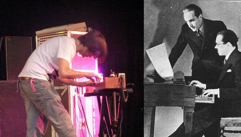 At left, Jonny Greenwood plays the Ondes Martinot onstage at the 2010 Glastonbury Music Festival; at right, inventor Maurice Martinot demonstrates his instrument for composer Pierre Vellones in 1936.