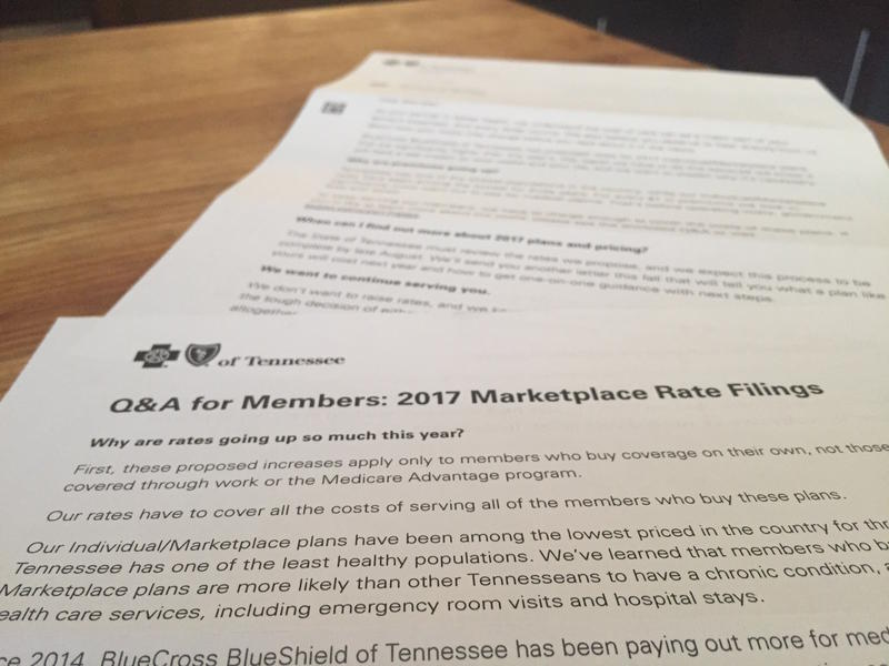 BlueCross BlueShield of Tennessee sent out two-page letters to some of its policyholders about the rate increase.