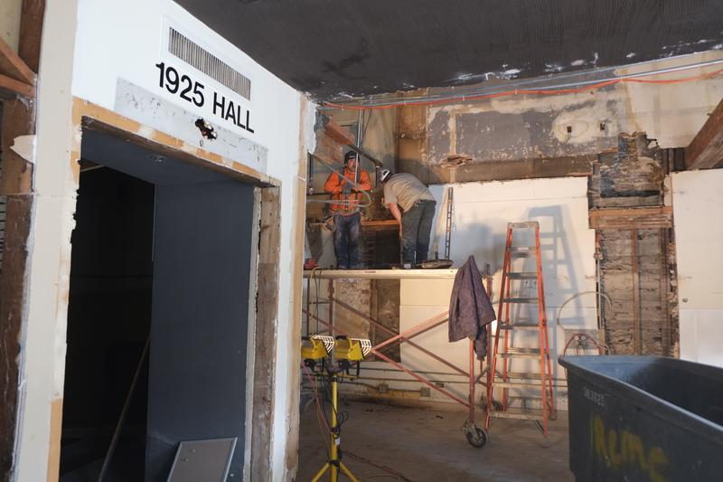 The entrance to the 1925 hall during renovations.