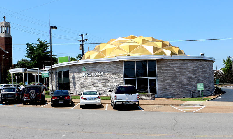The roof of this Regions Bank branch on Charlotte Pike is made from gold-anodized aluminum. Anodizing metal makes paint hold up to the elements much better than it would otherwise.