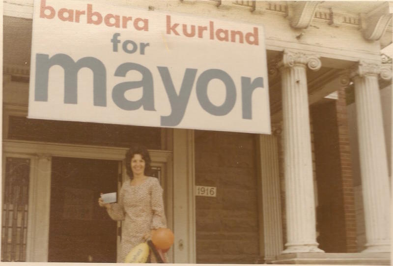 Barbara Kurland says she decided to run for mayor to advocate for a smooth desegregation of Metro Schools. Here, she stands in front of her campaign headquarters. She says her campaign was mostly run by teenagers too young to drive.