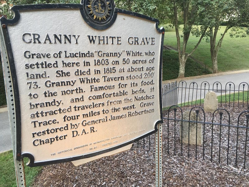 A marker tells a brief history of Granny White, right beside her grave on the site of her famous inn and tavern.