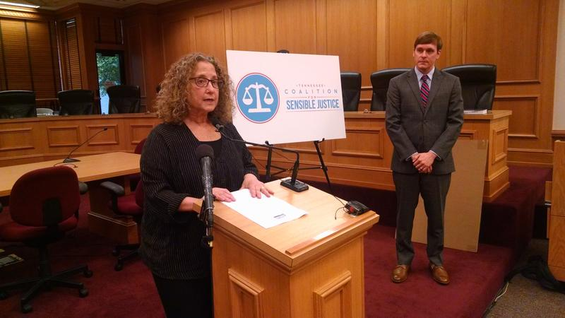 Hedy Weinberg, executive director of the ACLU of Tennessee, announces a partnership with the libertarian Beacon Center of Tennessee to promote criminal justice reforms.