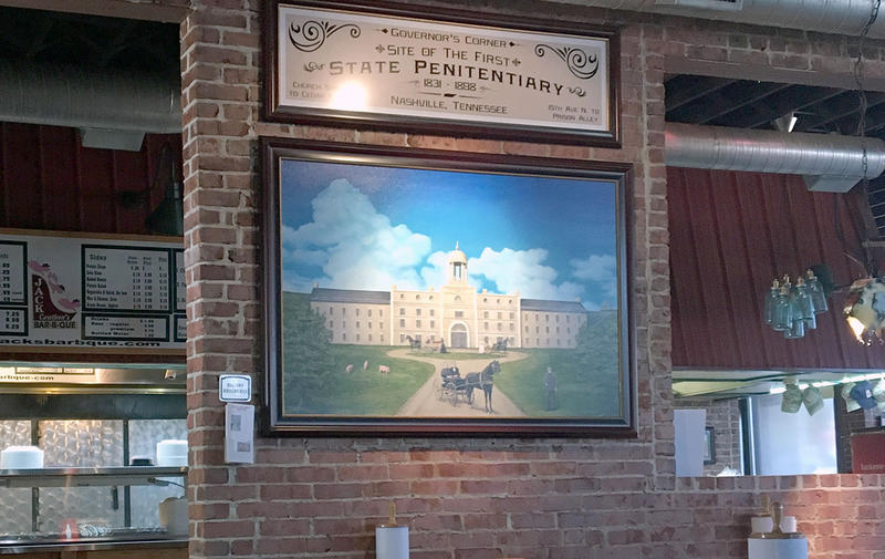 This painting of the original state prison was commissioned by Jack Cawthon and hangs in his Charlotte Pike restaurant.